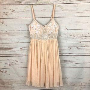 Miss Selfridge Blush Crystal Beaded Babydoll Dress